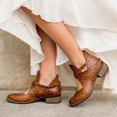 Women's fashion solid color hollow stitching ankle boots