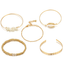Load image into Gallery viewer, Fashion Shell Pearl String Gold Beads 5 Piece Bracelet