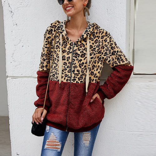 Casual leopard stitching suede zipper hooded sweatershirt