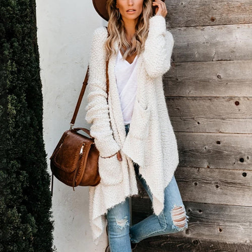 Casual Women Long Sleeve Solid Color Cardigan
