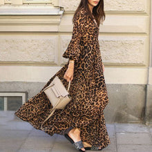 Load image into Gallery viewer, Fashion V-collar Leopard Print Dress