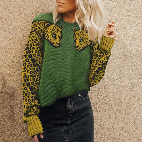 Casual round neck leopard color matching loose sweater