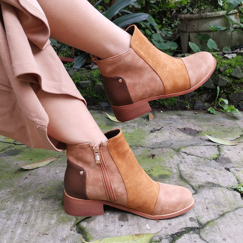 Women's color matching side zip low heel boots