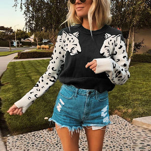 Fashion Round Neck Leopard Print Long Sleeve Sweater