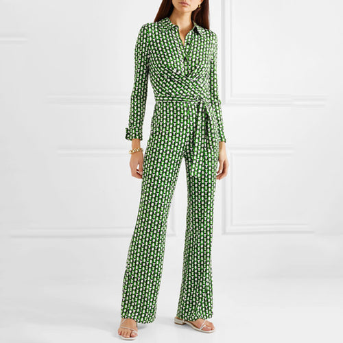 Elegant Long Sleeve Print Jumpsuit