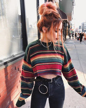 Load image into Gallery viewer, Casual Round Neck Long Sleeve Stripe Sweater