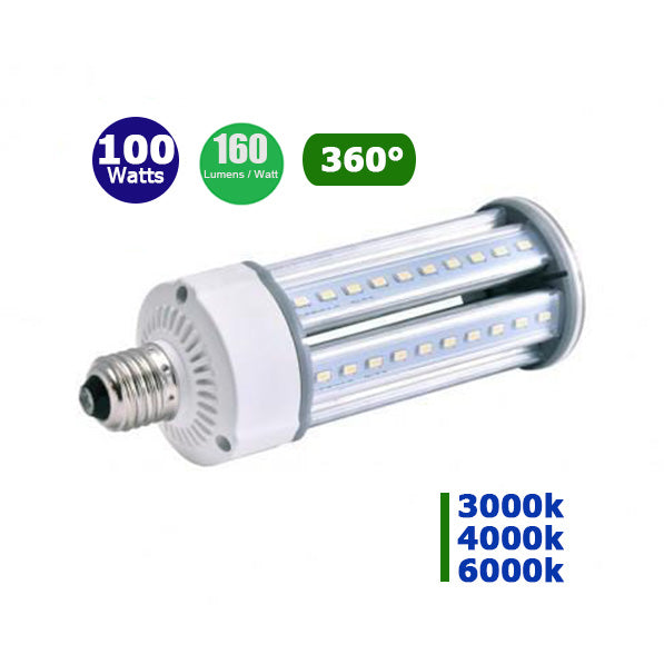 Ampoule LED E40 - 100 Watts - 16 000 lumens - 160 lumens/Watt - IP65 - 135 x 350 mm - Angle 360°