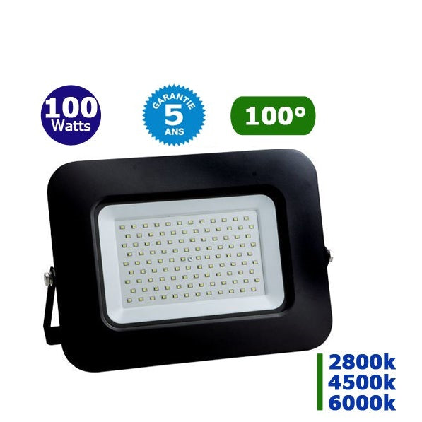 Projecteur LED - 100 Watts – Angle 150° - 10 000 lumens – 100 Lumens/Watt - 305 x 225 x 25 mm – IP65 - Garantie 5 ans