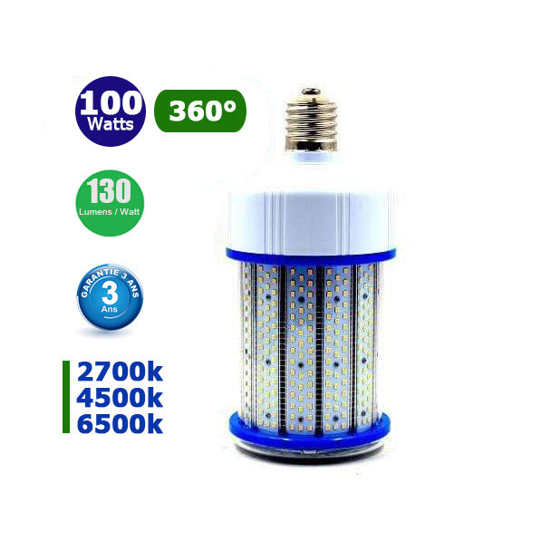 Ampoule LED E40 - 100 Watts - 13 000  lumens - 130 lumens/Watt - 130 x L280 mm - Angle 360° - IP44