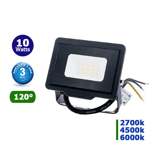 Projecteur LED CITY LINE - 10 Watts - 800 Lumens - 80 Lumens/Watt - 108 x 100 x 24 mm - Angle 120° - IP65 - Garantie 3 ans