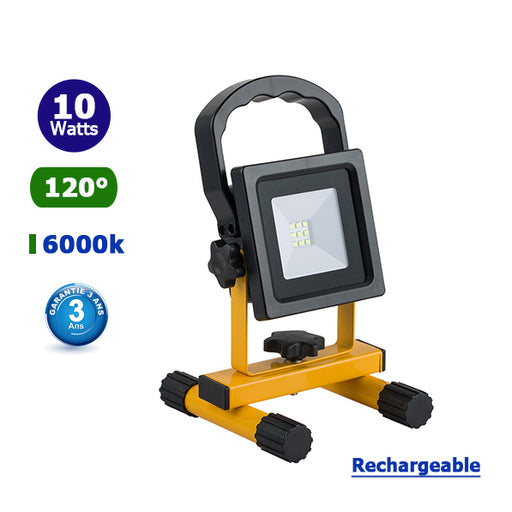 Projecteur LED portable - 10 Watts - 600 Lumens - 60 Lumens/Watt - Angle 120° - 126 x 133 x 218 mm - IP44 - RECHARGEABLE - Garantie 3 ans