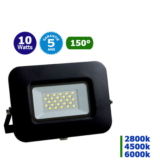 Projecteur LED - 10 Watts – Angle 150° - 850 lumens – 85 Lumens/Watt - 120 x 90 x 20 mm – IP65 - Garantie 5 ans