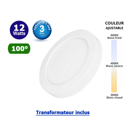 Dalle de surface ronde CCT- 12 Watts - 950 Lumens - 80 Lumens/watt - ф177 x 35 mm - Angle 100° - IP40/IP20 - Transformateur inclus - Couleur changeante