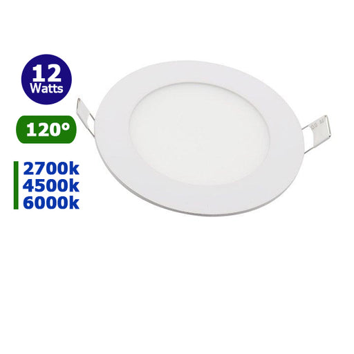 Mini-dalle LED - ronde - 12 Watts - 1000 Lumens - 84 Lumens/Watt - Dimensions 170 x 13 mm - Découpe 150 mm - Angle 120° - IP20