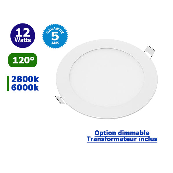 Dalle ultra-plate ronde - 12 Watts - 170 x 19 mm - Découpe 155mm - Angle 120° - IP20 - Transformateur inclus - Option Dimmable - Garantie 5 ans