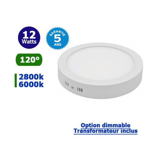 Dalle de surface ronde - 12 Watts - 169 х 36 mm - Angle 120° - IP20 - Transformateur inclus - Option Dimmable - Garantie 5 ans