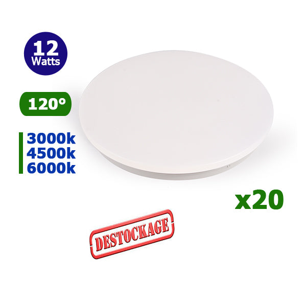 LOT DÉSTOCKAGE - Lot de 20 Plafonnier LED rond - 12 Watts - 840 Lumens - 70 Lumens/Watt - Angle 120° - IP20 - 230 x 65 mm - Couvercle matte