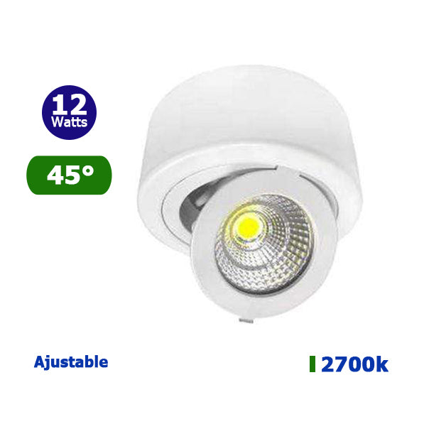 Spot LED de surface rond - 12 Watts - 990 Lumens - 118 x 50 mm - 45 degrés - IP20 - Ajustable
