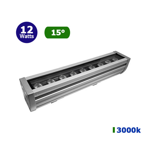 Projecteur LED lèche-mur - 12 Watts - 960 lumens - 500 x 60 x 50 mm - 15 degrés - IP67