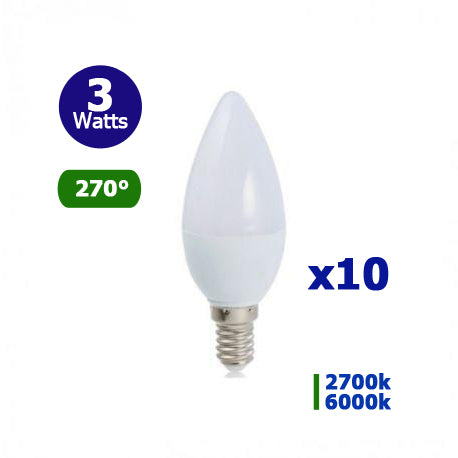 Lot de 10x Ampoules LED E14 - 3 Watts - Bougie - 240 Lumens - 80 Lumens/Watt - 37 x 110 mm - Angle 270° - IP20