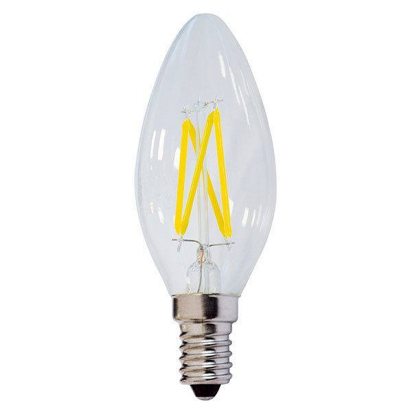 Lot de 10 Ampoules LED E14 C35 - 4 Watts - Filament - Bougie - 400 Lumens - 100 Lumens/Watt - 35 × 98 mm - Angle 300° - IP20 - Dimmable