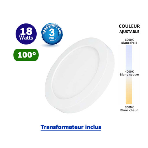 Dalle de surface ronde CCT- 18 Watts - 1550 Lumens - 85 Lumens/watt - ф226 x 35 mm - Angle 100° - IP40/IP20 - Transformateur inclus - Couleur changeante