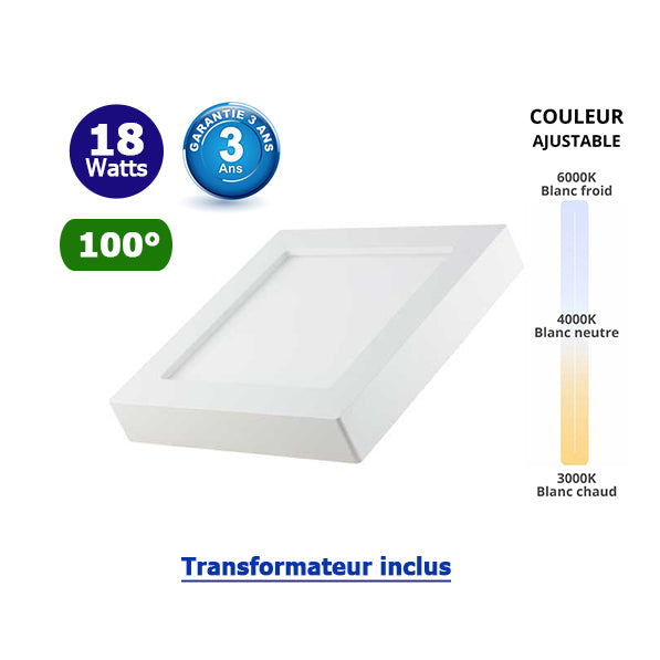 Dalle de surface carré CCT- 18 Watts - 1550 Lumens - 227 x 227 x 35 mm - Angle 100° - IP40/IP20 - Transformateur inclus - Couleur changeante