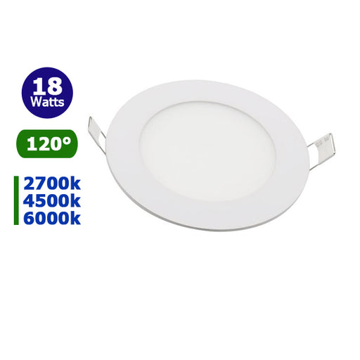 Mini-dalle LED - ronde - 18 Watts - 1500 Lumens - 84 Lumens/Watt - Dimensions 225 x 13 mm - Découpe 200 mm - Angle 120° - IP20