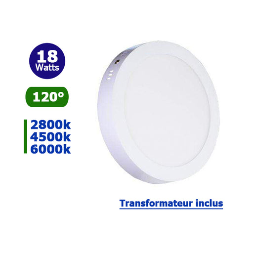 Dalle de surface ronde - 18 Watts - 225 x 38 mm - Angle 120° - IP21 - Transformateur inclus