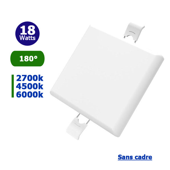 Spot encastrable LED - Top Design - Sans bordure / cadre - Carré - 18 Watts - 1500 Lumens - 84 Lumens / Watt - Dimensions 120 x 120 x 27 mm - Découpe 108 x 108 mm - Angle 180° - IP54 - Transformateur inclus