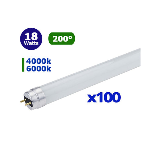 Pack 100x Tubes LED T8 120cm  - 18 Watts - 1440 Lumens - 90 Lumens/Watt - 1200 x 30 mm - Verre