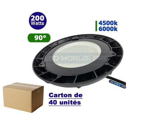 Carton de 40x Lampes industrielles UFO - Série LIGHT -  200 Watts - 17 000 Lumens - 85 Lumens/Watt - Angle 90° - 360 x 93 mm - IP65