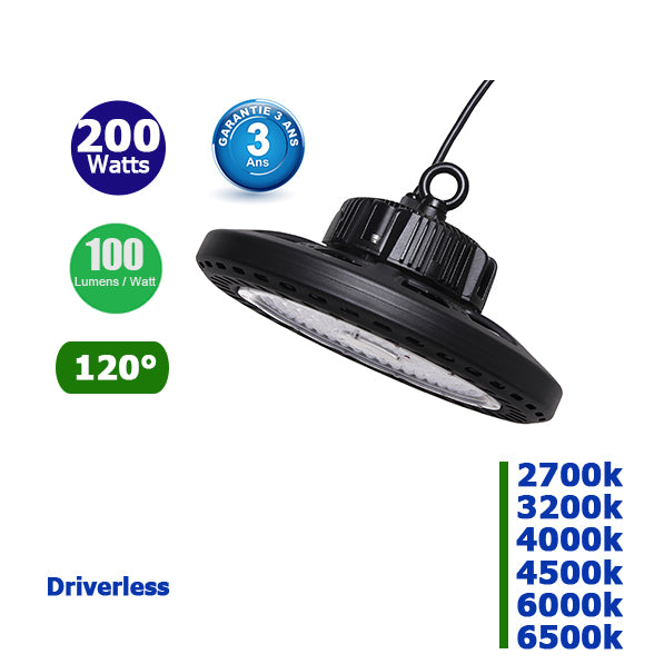 Lampe industrielle Driverless - 200 Watts - 20 000 Lumens - 100 Lumens/Watt -  388 x 196 mm - Angle  120° - IP65