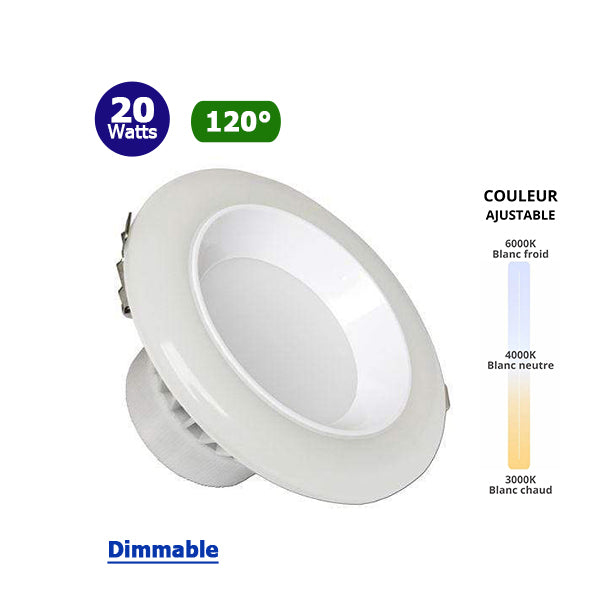 Spot intérieur LED rond - CCT - 20 Watts - 1400 Lumens - 70 Lumens/Watt - Dimensions 181 × 105 mm - Découpe 155 mm - Angle 120° - IP50 - Dimmable