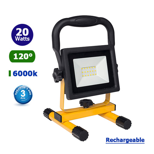 Projecteur LED portable - 20 Watts - 1200 Lumens - 60 Lumens/Watt - Angle 120° - 156 x 163 x 250 mm - IP44 - RECHARGEABLE - Garantie 3 ans