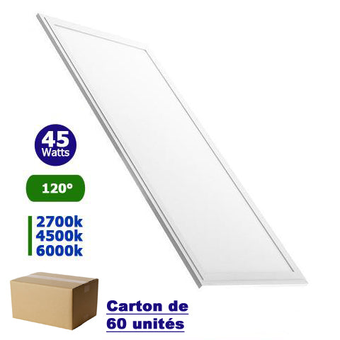 Carton de 60x Dalles LED - Rectangle 30 x 120 - 45 Watts - 3600 lumens - 80 Lumens/Watt - 1195 x 295 x 10 mm - 120 degrés - IP20