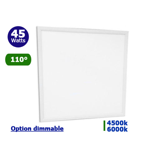Dalle LED Carré 60 x 60 - 45 Watts - 3600 lumens - 80 Lumens/Watt - 595 X 595 X 10 mm - 110 degrés - IP20 - Option Dimmable - Transformateur inclus