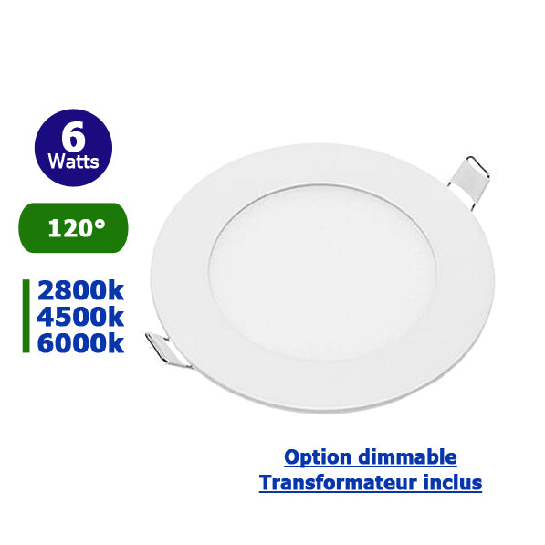 Plafonnier LED rond - 6 Watts - 420 Lumens - 70 Lumens/Watt - Dimensions 120 x 22 mm - Découpe 105 mm - Angle 120° - IP20 - Option Dimmable
