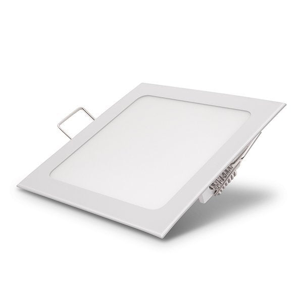 Dalle ultra-plate carré - 12 Watts - Dimensions 170 x 170 x 22 mm - Découpe 150 x 150 mm - Angle 120° - IP20 - Transformateur inclus - Option Dimmable