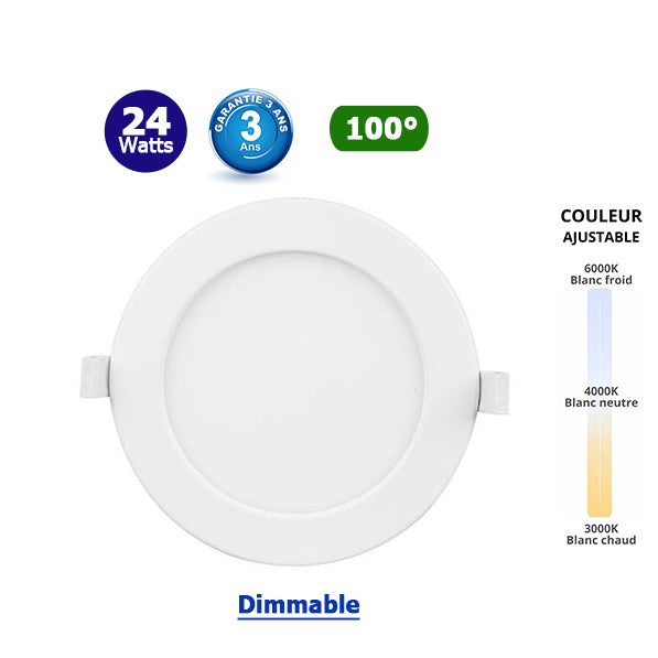 Plafonnier Led Rond extra plat CCT - 24 Watts - 2100 Lumens - 87 Lumens/Watt - Dimensions 220 x 32 mm - Découpe 225 mm - Angle 100° - IP20 - Dimmable