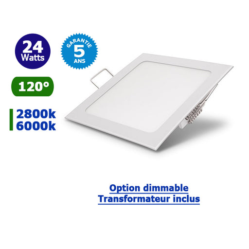 Dalle ultra-plate carré - 24 Watts - Dimensions 300 x 300 x 25 mm - Découpe 282 x 282 mm - Angle 120° - IP20 - Transformateur inclus - Option Dimmable - Garantie 5 ans