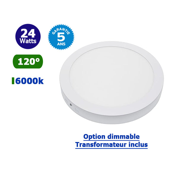 Dalle ultra-plate ronde - 24 Watts - 300 × 25 mm - Découpe 285mm - Angle 120° - IP20 - Transformateur inclus - Option Dimmable - Garantie 5 ans