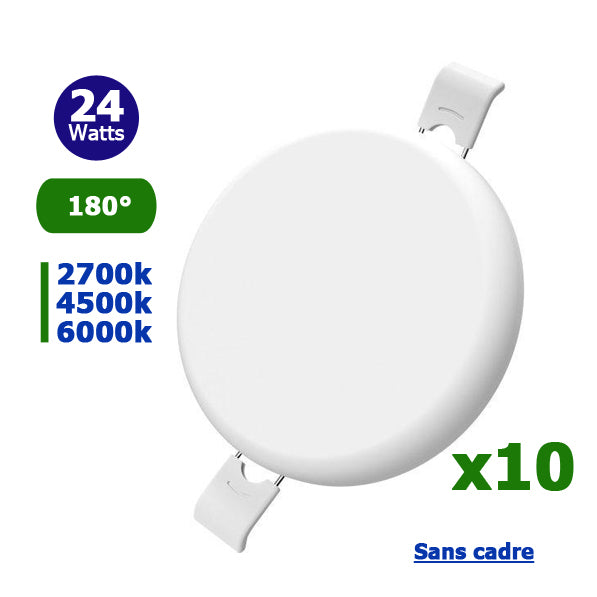 Pack de 10x Spots encastrables LED - Top Design - Sans bordure / cadre - Rond - 24 Watts -  2010 Lumens -  84 Lumens / Watt - Dimensions 170 x 27 mm - Découpe 155 mm - 180° - IP54 - Transformateur inclus