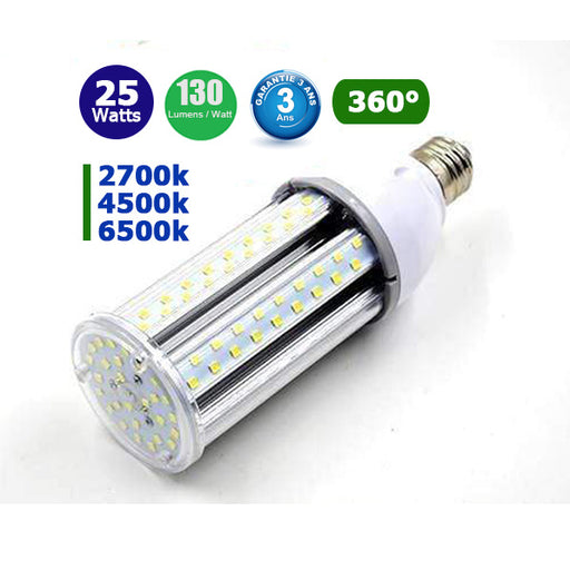 Ampoule LED  E27 / E40 au choix - 25 Watts - 3250  lumens - 130 lumens/Watt - 93 x 220 mm - Angle 360° - IP44