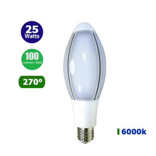 Ampoule LED E40 - 25 Watts - 2500 Lumens - 100 Lumens/Watt - 75 x 235 mm - Angle 270° - IP20