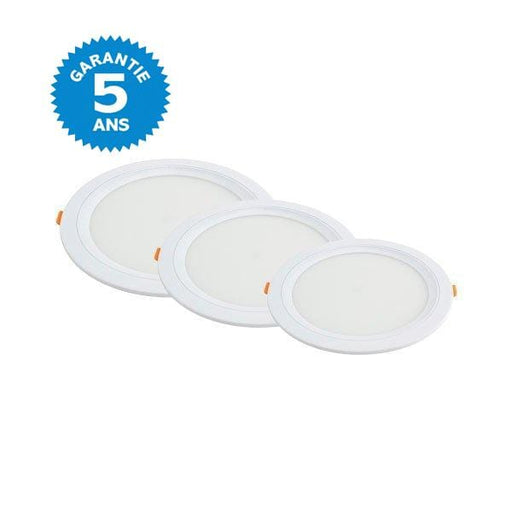 Dalle ultra-plate ronde - 6 Watts - Dimensions 118 x 33 mm - Découpe 100 mm - Angle 120° - IP20 - Transformateur inclus - Option Dimmable - Garantie 5 ans