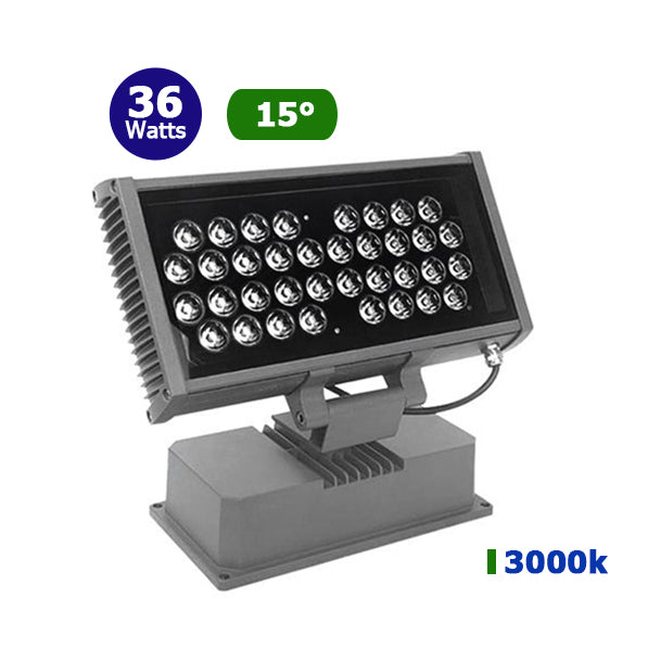 Projecteur LED lèche-mur - 36 Watts - 2880 lumens - 335 x243 x120 mm - 15 degrés - IP67