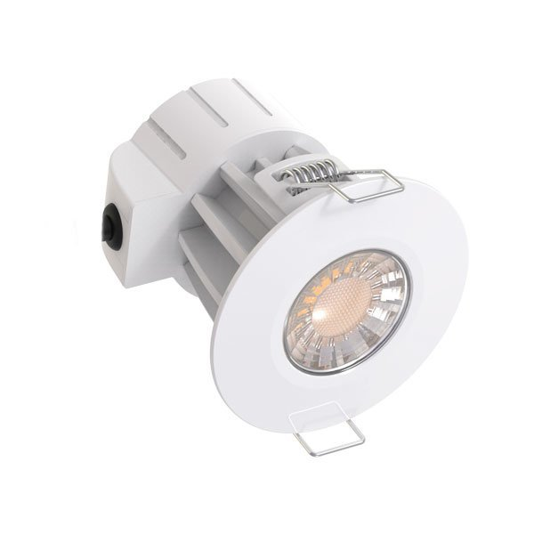 Spot LED résistant au Feu CCT - 8 Watts -  600 Lumens - 75 Lumens/Watt - Dimensions 80 x 80 mm - Découpe 70 mm- Angle 40°- IP65 - Dimmable