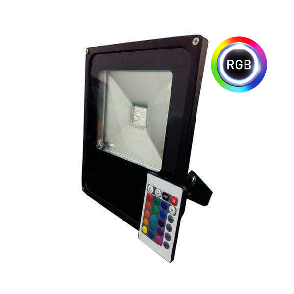 Projecteur LED RGB (multicolore) - 50 Watts - 3000 lumens - Angle 150 degrés - 290 x 235 x 60 mm - IP66