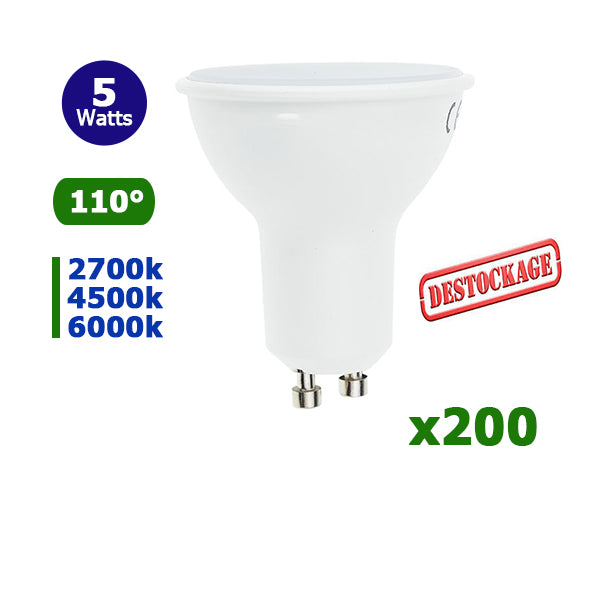 LOT DÉSTOCKAGE - Lot de 200 Ampoules LED GU10 - 5 Watts - 110 Degrés - IP20